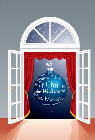 Christmas background with blue ball on window Vector