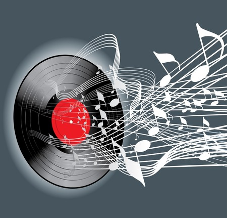abstract music background with vinyl record Vector