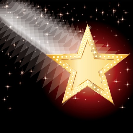 christmas movies:  r abstract background with falling golden star Illustration