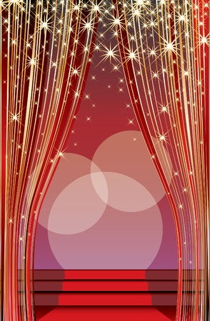 stage with red carpet and abstract golden curtain Vector