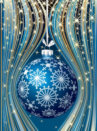 Christmas background with blue ball Stock Vector - 8279489
