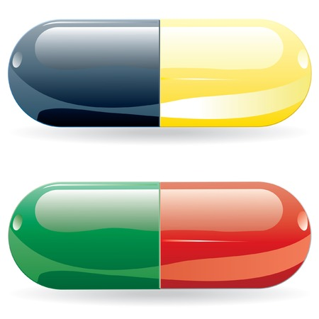 pills in sting and red and green colors Vector