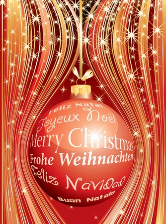 Christmas ball with text in six languages Vector
