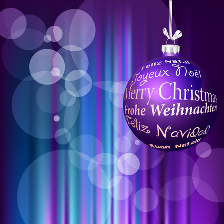 purple Christmas ball with text in six languages  Vector