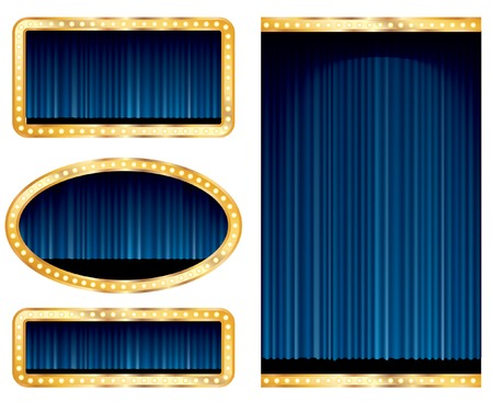 blue velvet:   blank abstract stage displays with blue curtain