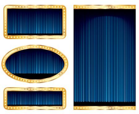terciopelo azul:   etapa abstracta en blanco se muestra con cortina azul