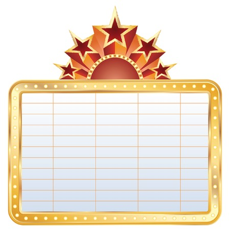 las vegas sign:  golden blank cinema display with stars Illustration