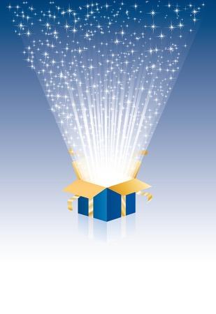 illustration avec boîte cadeau magique