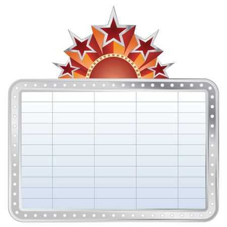 silver blank cinema display with stars Vector