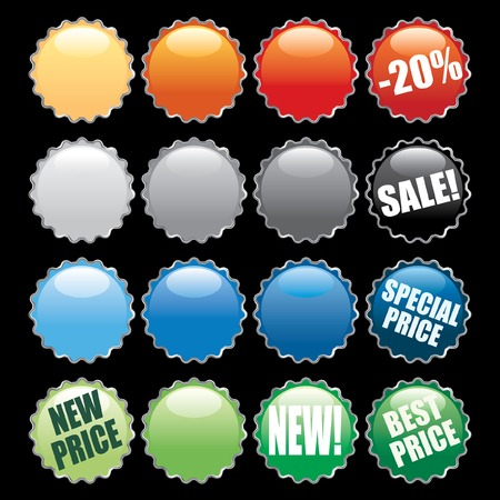 beer label design:   colorful buttons like bottle caps