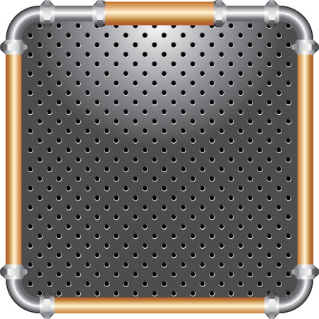 heavy industry:   perforated plate with frame of the gray and bronze pipes Illustration