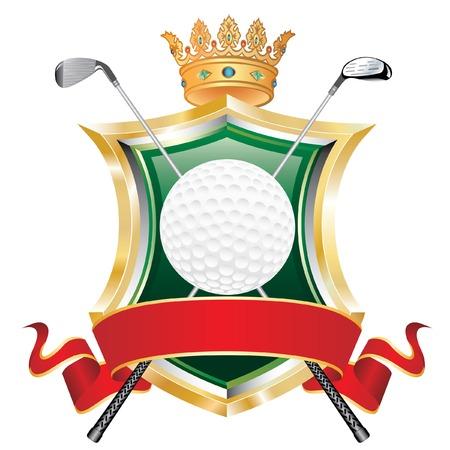 pelota de golf en el escudo con la corona y la bandera roja en blanco