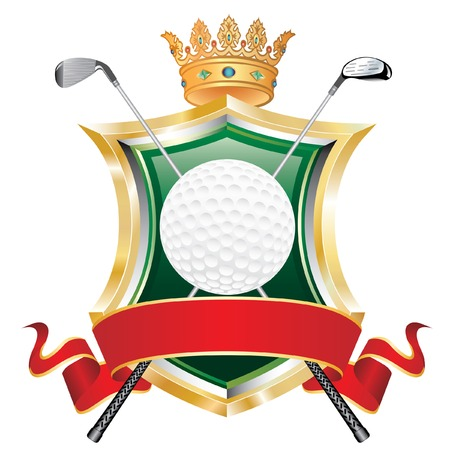 white coat:   golf ball on shield with crown and blank red banner