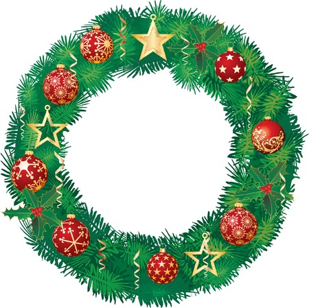 Christmas garland with red balls and Golden stars Vector