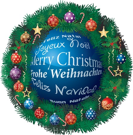 Christmas ball on six languages with garland Vector