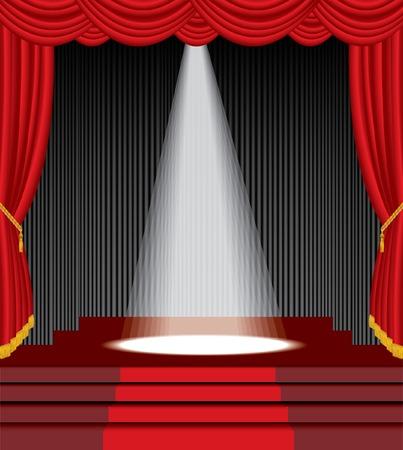sipario chiuso:   palco con scale e uno bianca luce spot