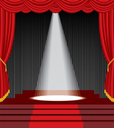 stage curtain:   stage with stairs and one white spot light
