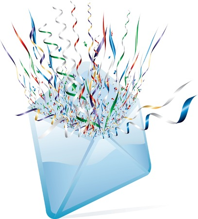 opened surprise mail with confetti Stock Vector - 8424397