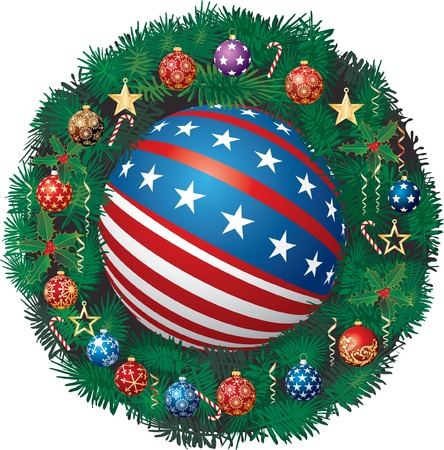 patriotic Christmas garland with balls and Golden stars Vector