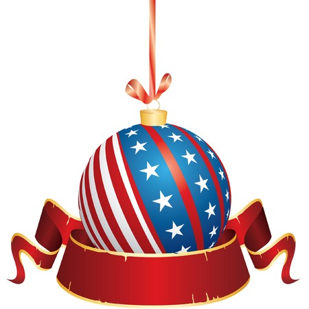 USA patriot christmas ball with blank banner Vector