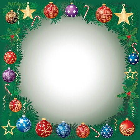 vector Christmas garland with blue and red balls and Golden stars Vector