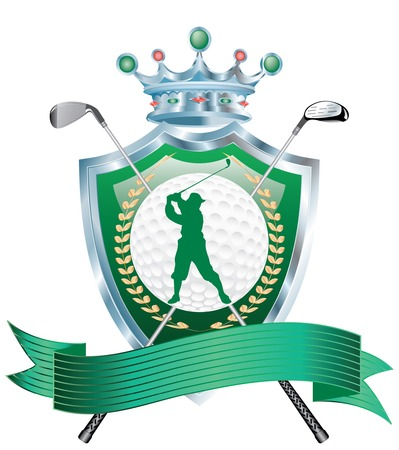 blank golf award with shield and irons Vector