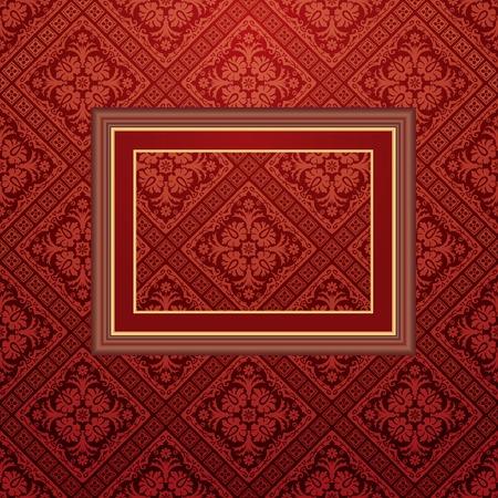 vector vintage empty frame on baroque wallpaper Vector