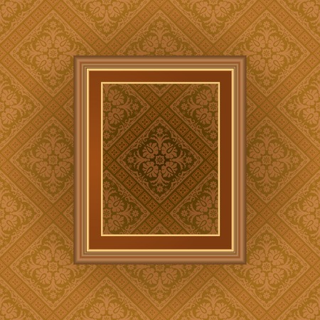vintage empty frame on baroque wallpaper, layered and editable Vector