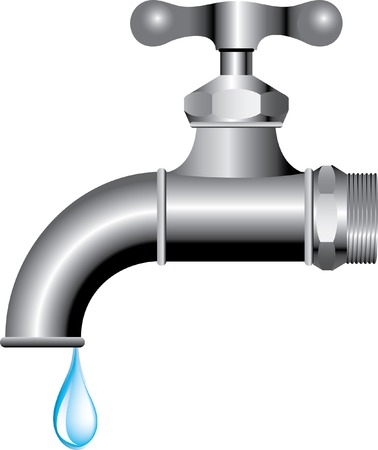 waterworks:  illustration of the faucet with water drop
