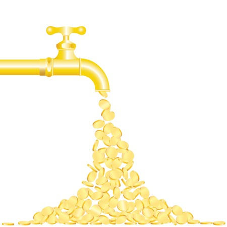 money transfer:  illustration of the golden coins falling from tap