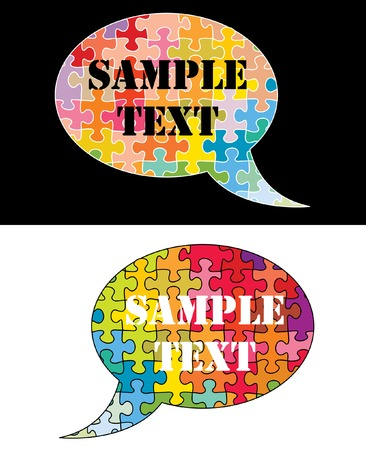communication metaphor:   speech clouds with colorful puzzle