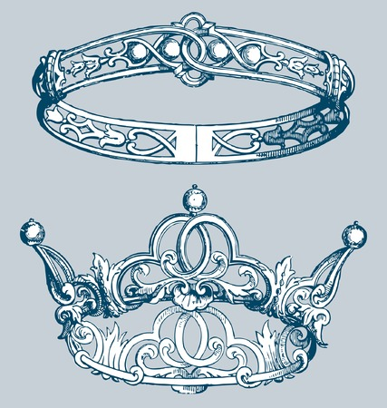 sucess: two vector vintage drawings of the crown Illustration