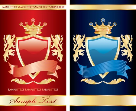 coats of arms: vector red label with royal crown for different products like food, beverages and cosmetics
