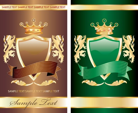 green and chocolate label with royal crown for different products like food, beverages and cosmetics Stock Vector - 8597788
