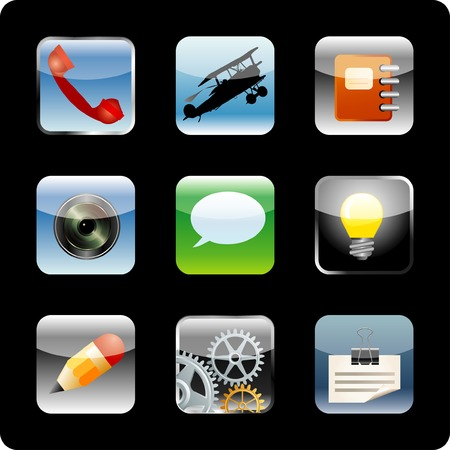 original   icons for diverse actions on computer, web or phone Stock Vector - 8620802