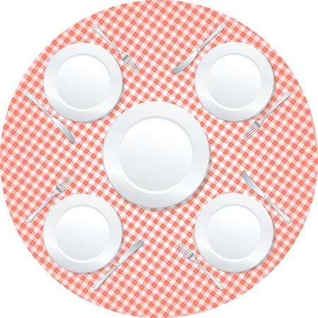 placas de vacíos en la mesa redonda