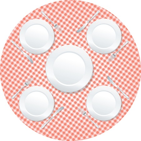 empty plates on rounded table Vector