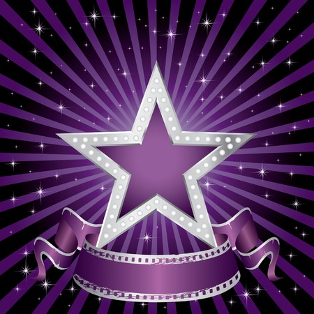 film star:  silver purple star on the starry night  Illustration