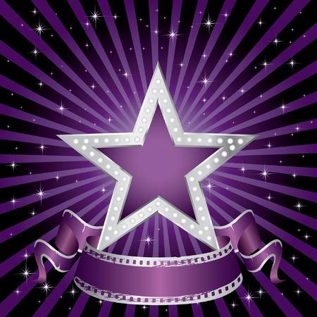 vedette de cin�ma:  Silver star pourpre sur la nuit �toil�e