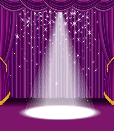 purple stage with falling stars  Vector