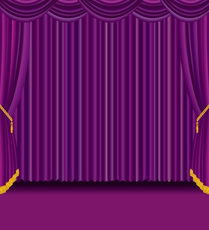 purple curtain empty stage Vector