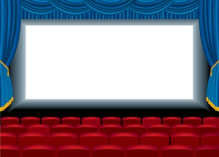 movie screen:  illustration of the empty cinema with free bottom layer for your image Illustration