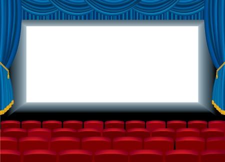 terciopelo azul:  Ilustraci�n del cine vac�o y la capa de fondo libre para tu imagen