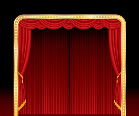 stage with red curtain and golden frame Stock Vector - 8693831