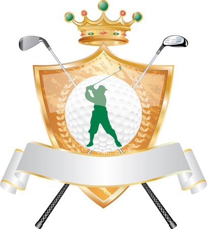 golf iron:   golden golf award with crown Illustration