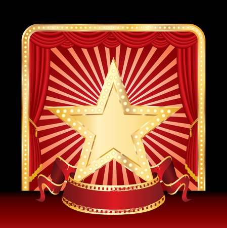 golden star with blank banner on stage Vector