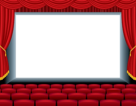 theater seats:   illustration of the empty cinema with free bottom layer for your image