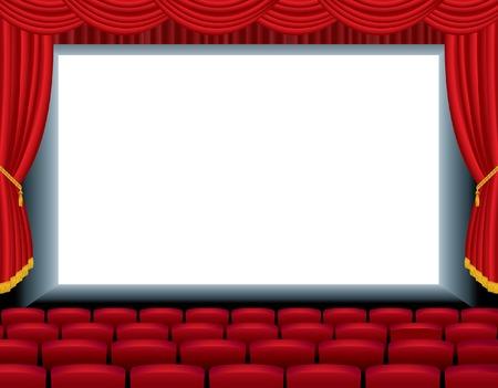 sipario chiuso:   illustrazione del cinema vuoto con il livello di fondo gratis per la tua immagine