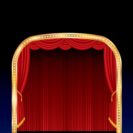 stage with red curtain and golden frame Vector