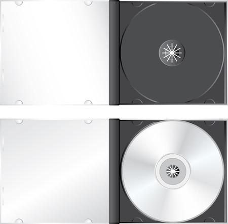 cd case:  Fotos realistas del caso de CD o DVD en blanco Vectores